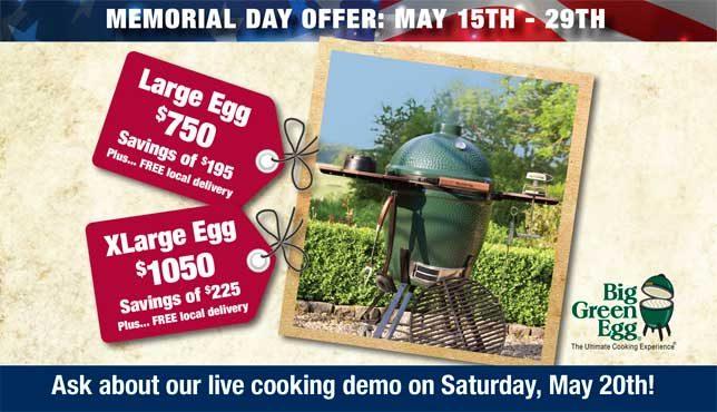 Memorial Day Big Green Egg Savings