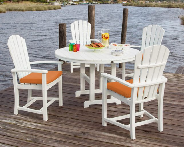Palm Coast 5-Piece Dining Set with Tangerine Dining Cushions