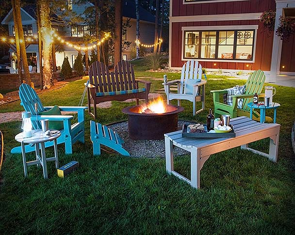 Eclectic Patio Furniture Mix Around Fire Pit